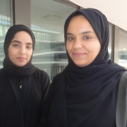 Engineering students Thikra and Aseel study German at GUtech