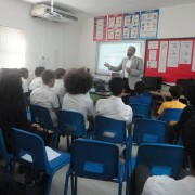 Prof. Basel Dayyani during is motivational talk at the British School Muscat
