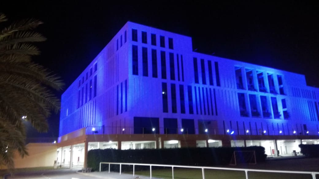 GUtech Campus Glowing in Blue