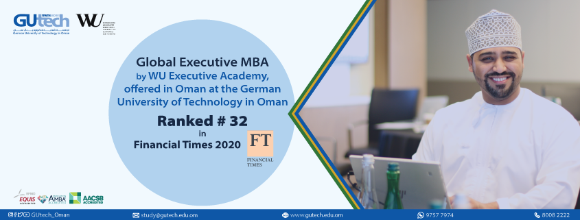 The Global Executive MBA at the WU Executive Academy of the University of Vienna University of Business and Economics, now stands at the 32nd place globally.